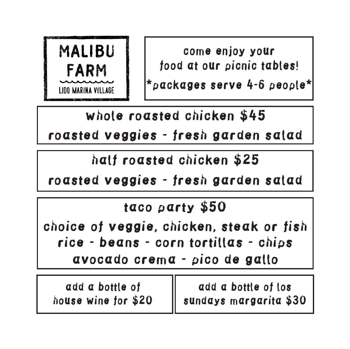 Malibu Farm Lido Take Home Food Platters: Roast Chicken, Tacos, and More!